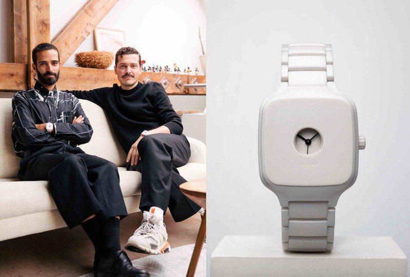 義大利雙人設計組合FormaFantasma與其打造的RADO True Square限量腕表。圖 / RADO提供。