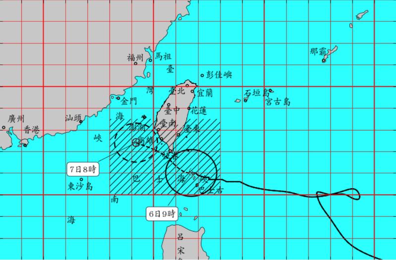 閃電颱風。圖/取自中央氣象局網站