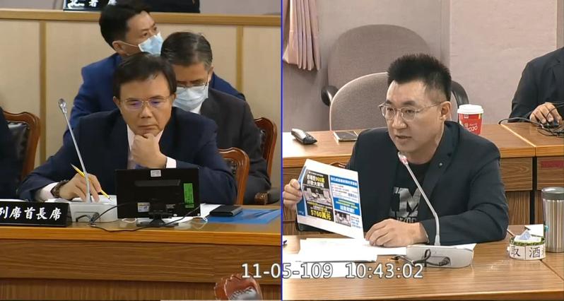 國民黨立委江啟臣昨天在司法法制委員會質詢蔡碧仲。圖/翻攝自國會頻道