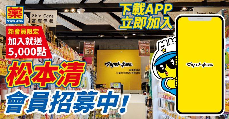 日本連鎖藥妝「松本清」國際會員App將於11月9日正式上線,申辦會員立即送5,000點。圖/松本清提供