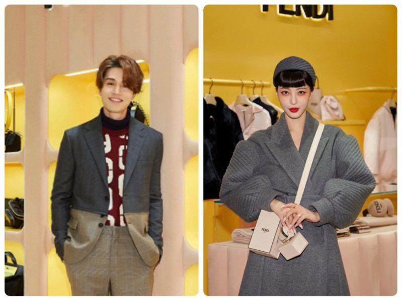 李棟旭、韓藝瑟出席首爾Galleria百貨的FENDI耶誕佳節活動。圖/FENDI提供