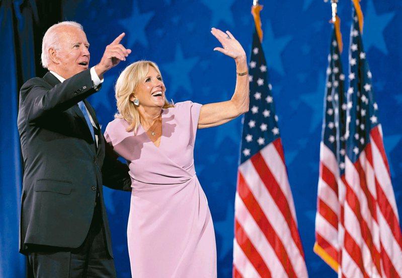 美國總統當選人拜登與妻子吉兒。 法新社