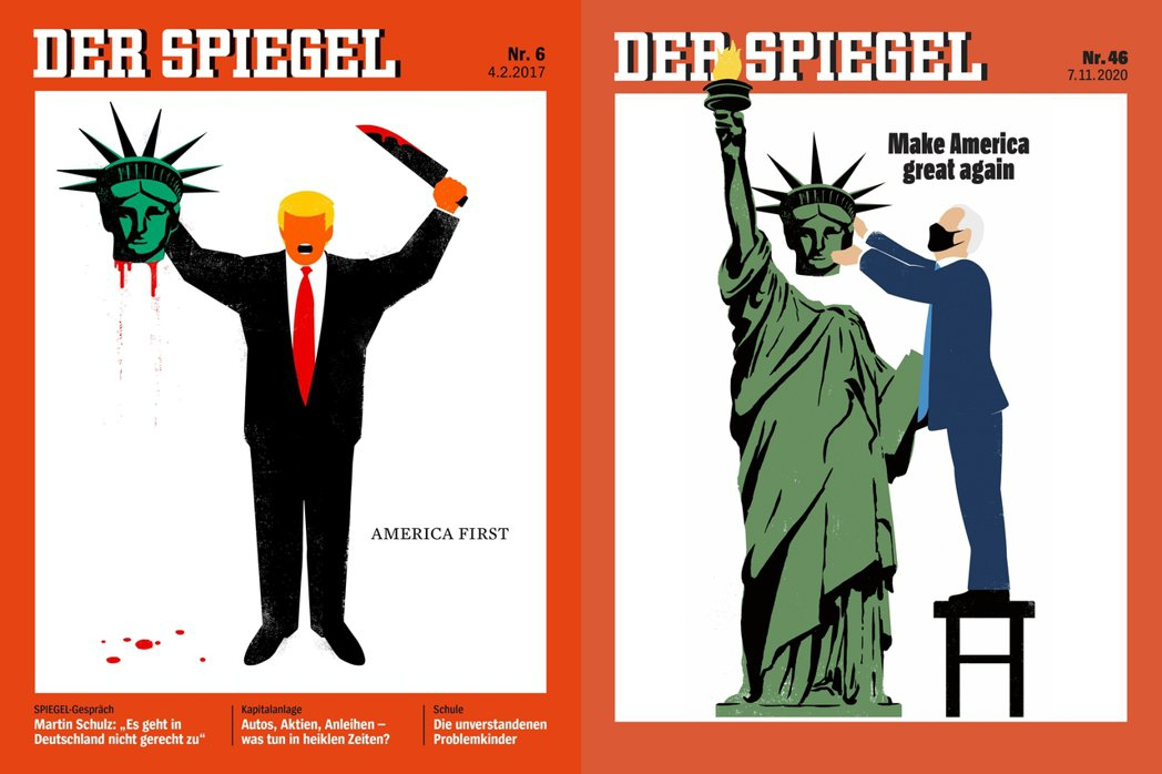 在確認拜登超越當選門檻後,德國《明鏡週刊》也很快地上傳了新版的經典封面,期待並祝...