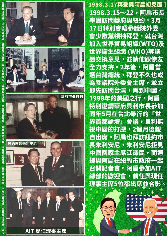 前總統陳水扁發臉書回憶過去與準美國總統拜登見面情形。圖/取自台灣勇哥粉絲團