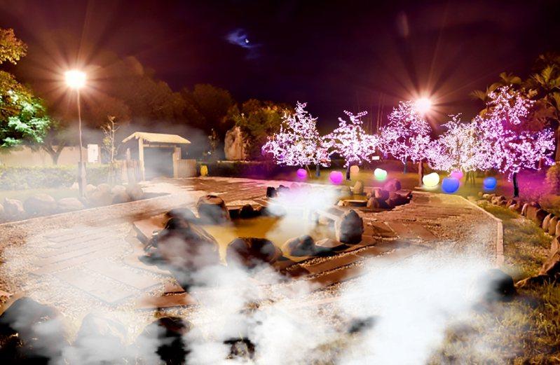 花蓮縣政府舉辦「2020花蓮太平洋溫泉季」,在瑞穗溫泉區和安通溫泉區設置夢幻光影展區,打造夜間亮點。圖/花蓮縣政府提供