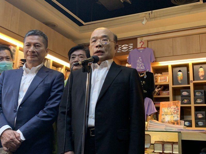 行政院長蘇貞昌今日上午受訪時指蔡英文總統致電祝賀拜登,稍候遭政院澄清。記者張睿廷/攝影