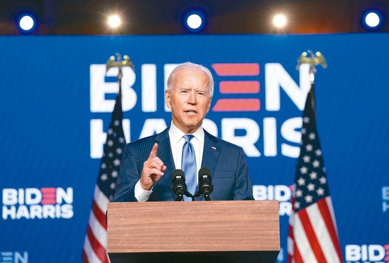 拜登取得290張選舉人票,並發表勝選演說。路透