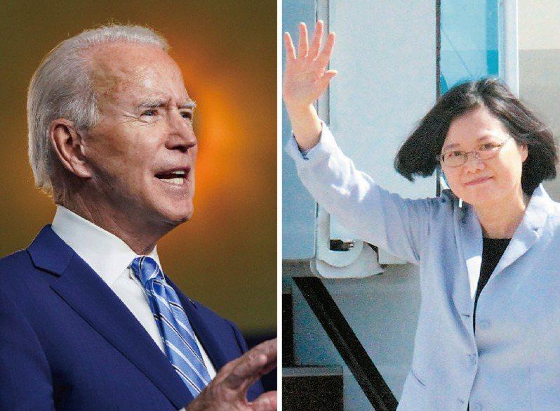 蔡總統(右)今天搶在拜登(左)發表勝選演說前在Twitter恭賀他當選。圖/美聯社、聯合報系資料照片