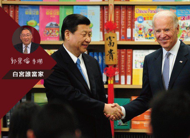 美中初步接觸的戰略對話中,習近平(左)必然釋放善意,做出讓步,圖為2012年習近平與拜登在北京舉行會談。。法新社
