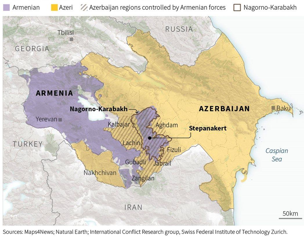 自9月底在亞塞拜然與亞美尼亞之間開打的「納戈爾諾-卡拉巴赫戰爭」,除了納卡首府斯...