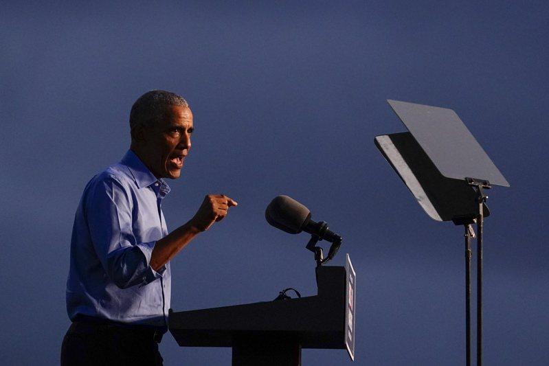 美國前總統歐巴馬選前為拜登站台,第一站就去費城。圖為歐巴馬10月21日在費城對支持者發表演說。美聯社