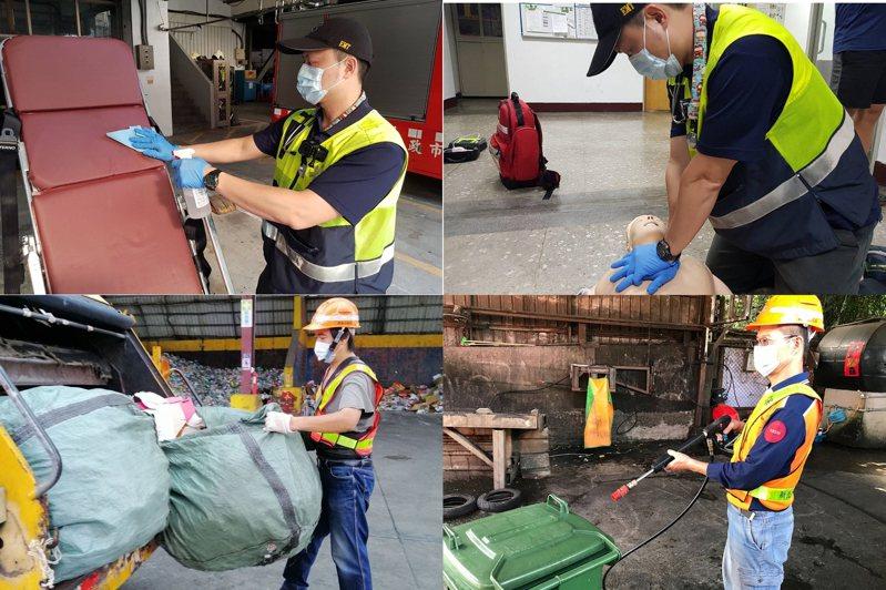 新北市消防局、環保局第一線緊急救護出勤人員、清潔隊及環保公害稽查人員使用鴻海口罩。 圖/鴻海提供