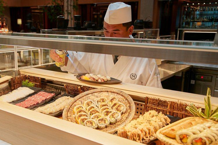 「和食海鮮區」供應有炙燒和牛握壽司等餐點。圖/台北喜來登提供