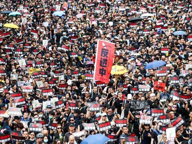 圖為去年6月16日香港反送中大遊行參與人數破百萬。圖/聯合報系資料照片