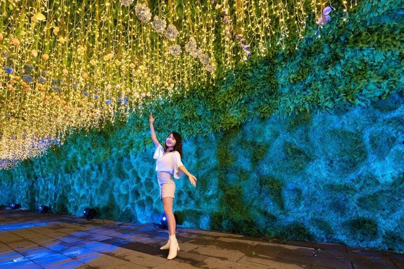 新北歡樂耶誕城位於府中456行政園區的「花漾」近期曝光,讓不少民眾讚嘆一定要去。圖/新北觀旅局提供
