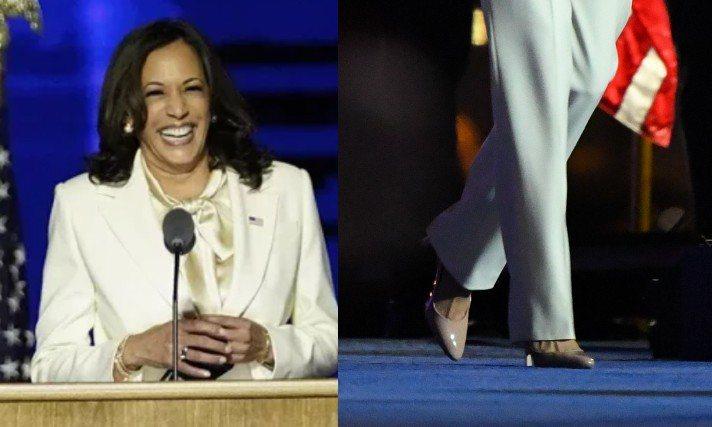 美國新任副總統賀錦麗發表勝選演說,身穿Carolina Herrera緞面襯衫配米白色西裝褲裝,腳踩Manolo Blahnik裸色SAMBA高跟鞋。圖/Manolo Blahnik提供