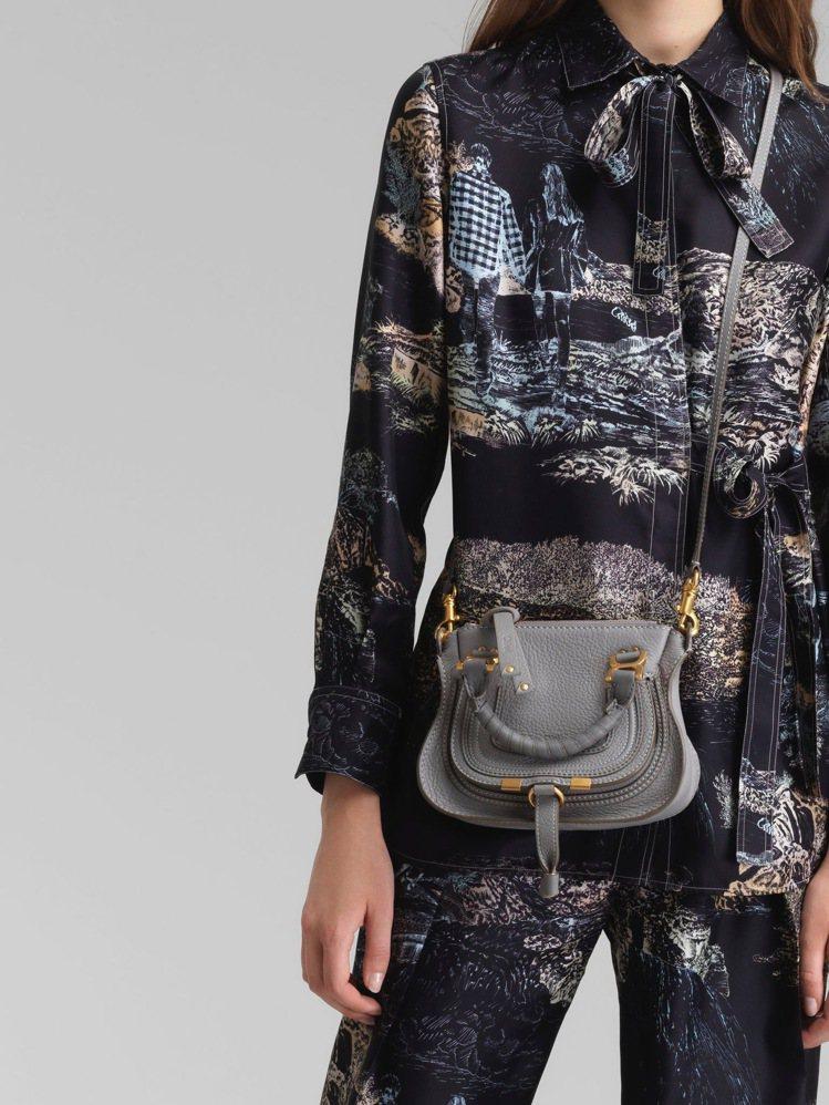 Chloé Marcie灰色迷你肩背手提包,42,900元。圖/Chloé提供