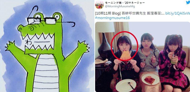 圖左為「鬼滅之刃」作者吾峠呼世晴所畫的鱷魚自畫像。右為誤傳的「吾峠呼世晴」(紅圈處)。擷自維基百科、推特。