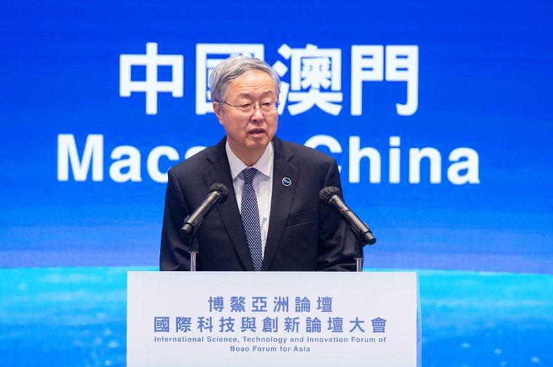 博鰲亞洲論壇副理事長周小川在博鰲亞洲論壇國際科技與創新論壇首屆大會上致辭。新華社