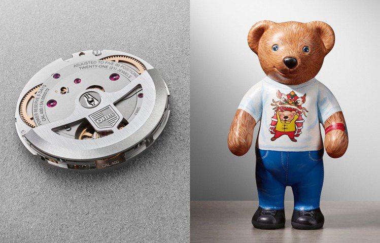 特定角度時,Calibre 400的機芯將呈現出神似ORIS小熊的可愛萌樣。圖 ...
