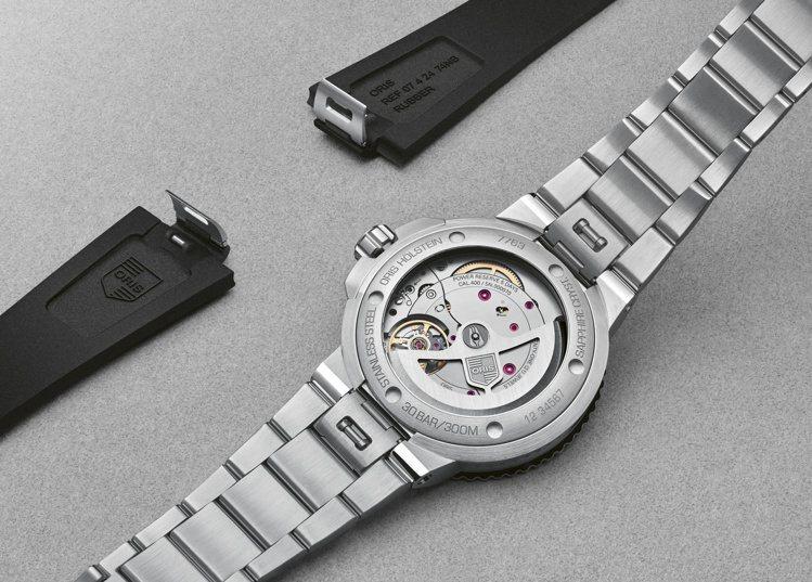 除了延長保固、十日鍊動能,新款Aquis腕表並具備表帶快拆系統,可自由更換。圖 ...