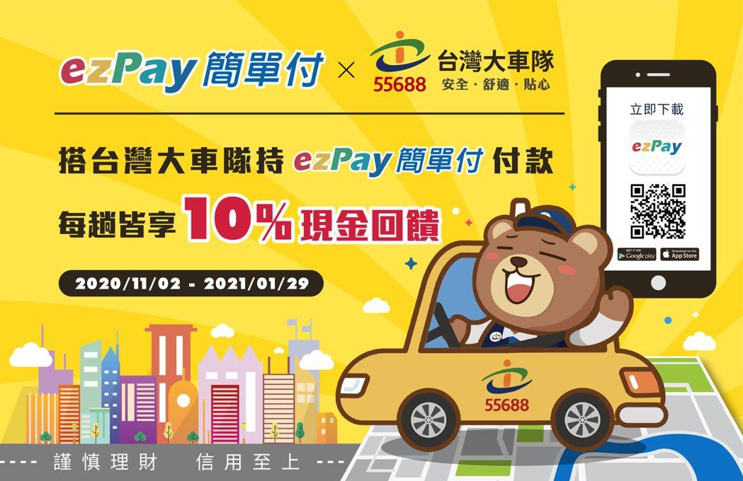 《ezPay簡單付》與台灣大車隊合作即日起上路,期間內搭車以《ezPay簡單付》...