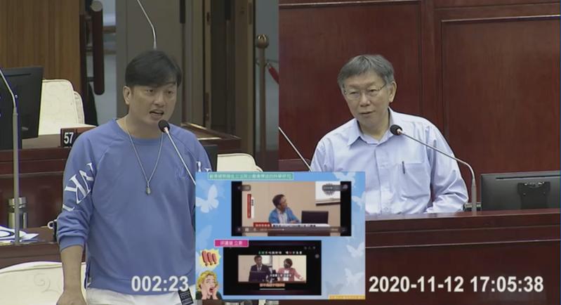 政院道歉稱萊牛是媒體操作,北市長柯文哲笑說,「這要推給媒體?」 圖/截自北市議會影片