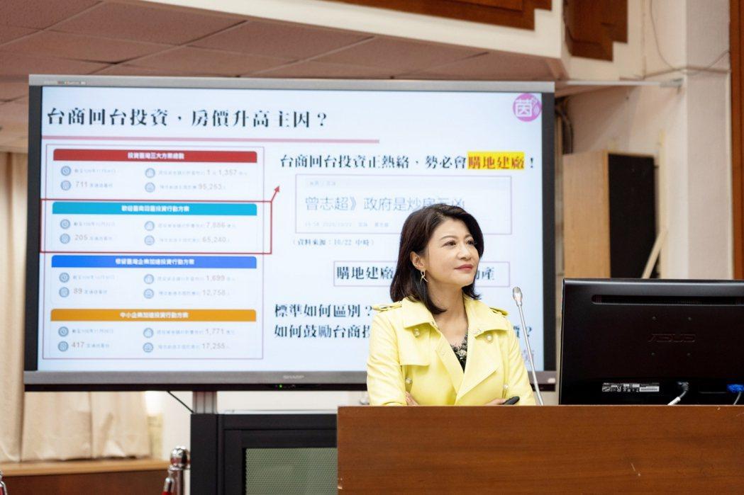 民進黨立委林楚茵今日關注個人成立投資公司炒房問題。圖/林楚茵辦公室提供