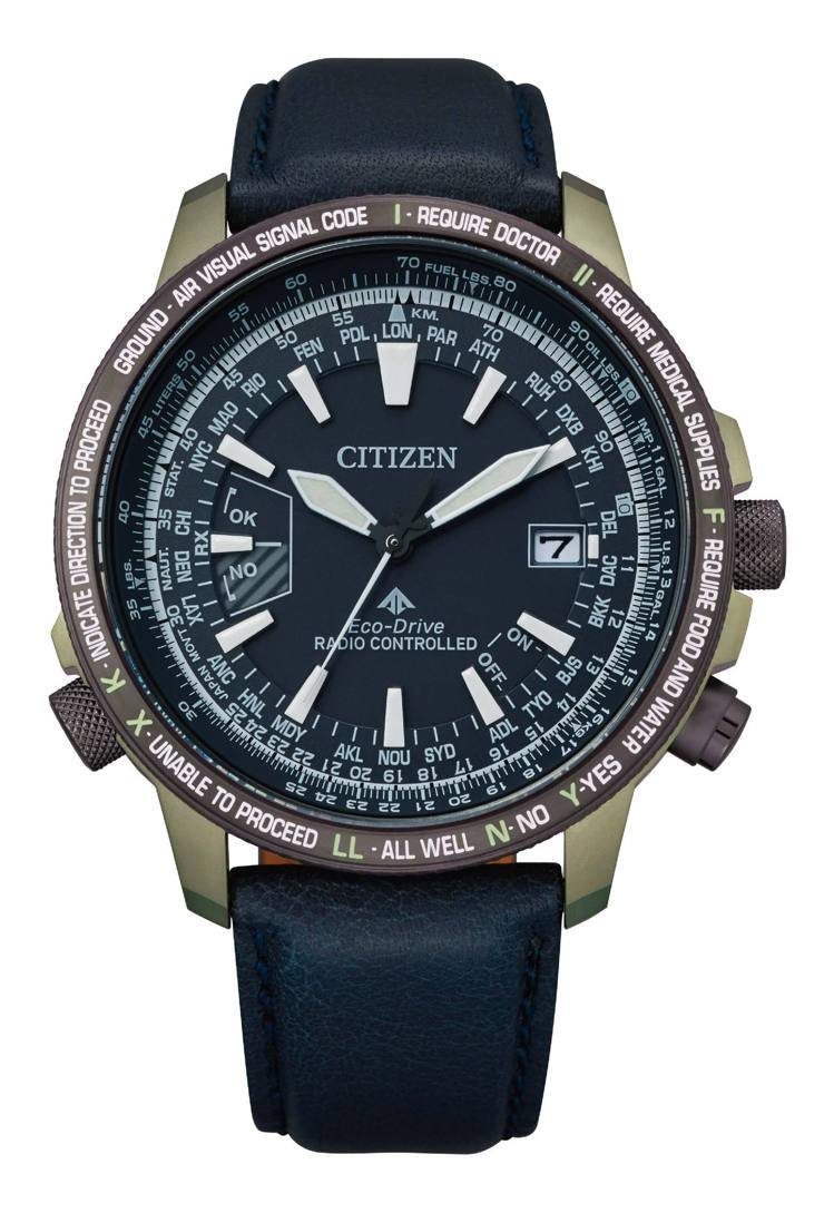 CITIZEN光動能CB0204-14L全球電波飛行腕表,鈦金屬表殼,限量100...