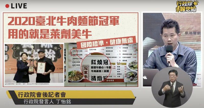 對於含萊克多巴胺美豬進口議題,行政院發言人丁怡銘,在院會後記者會說明並回應台北市長柯文哲在行政院院會上的提議。擷取自行政院直播