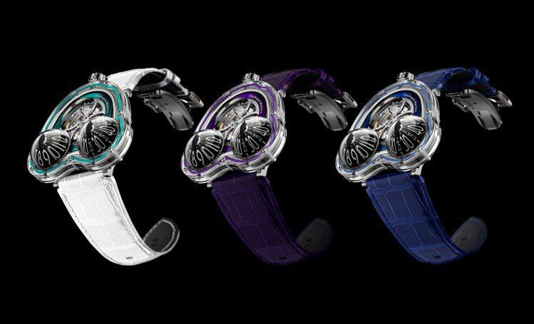 共有綠、紫、藍,三色的MB&F FrogX腕表,各限量10只,訂價約50...