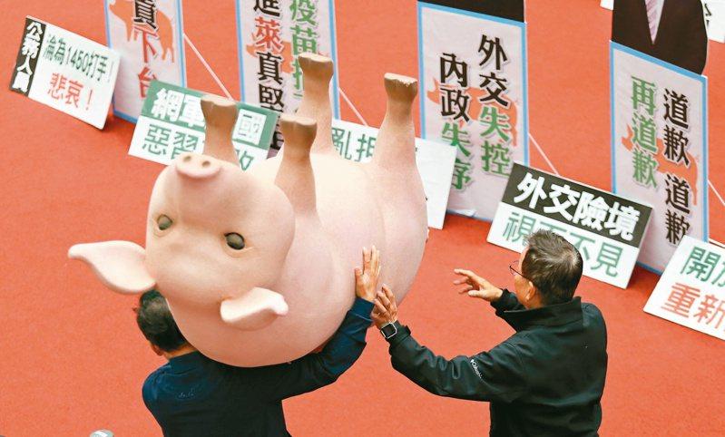 行政院長蘇貞昌諷刺國民黨立委每天抬道具豬杯葛,「如果那隻豬會講話,一定也覺得煩死了」。圖/聯合報系資料照片