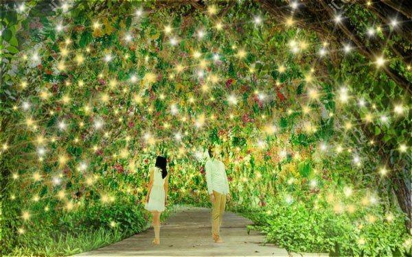 以綠色為光廊主色並點綴了一些燈飾,綠意盎然。 圖/新北市觀光旅遊局提供
