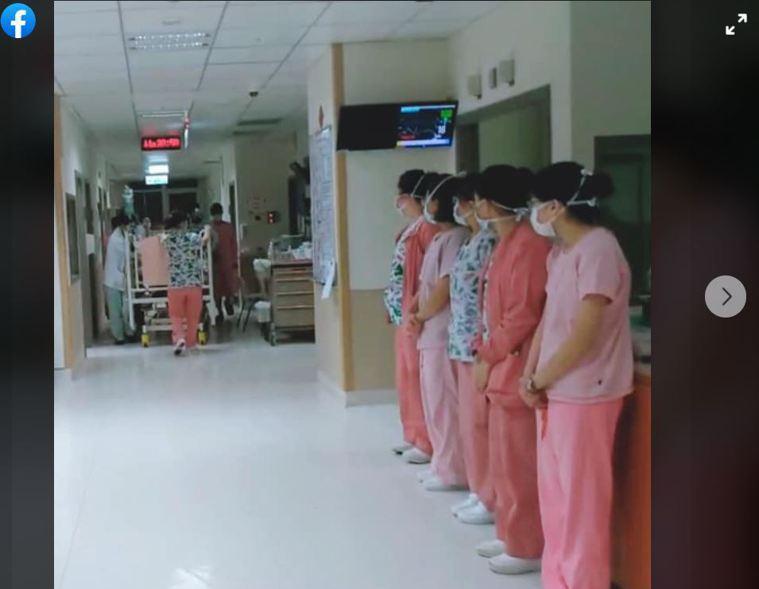 圖為醫療團隊列隊鞠躬向捐贈者致上感謝之意。 圖截自《長庚社會公益作伙來》臉書