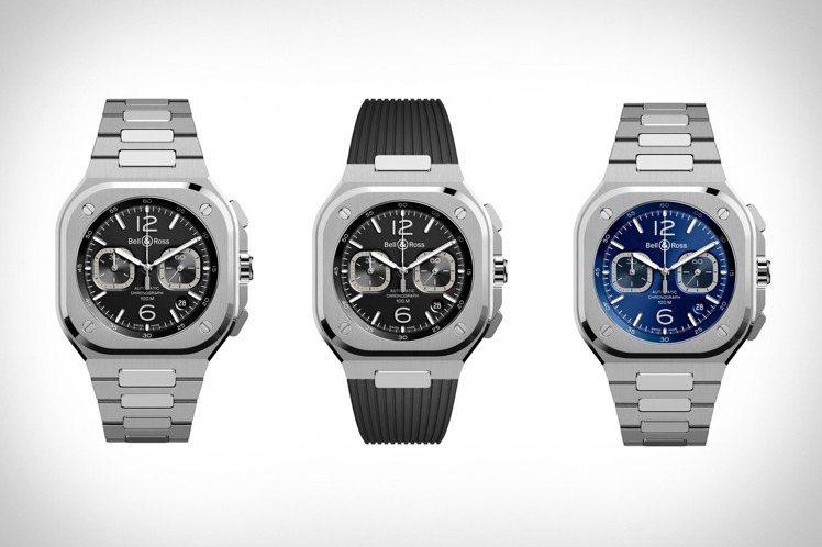 藍或黑,橡膠或金屬鍊帶,為BR 05 Chrono帶來豐富的造型變化。圖 / B...
