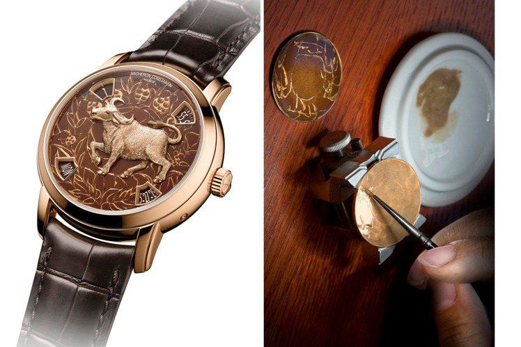 結合金雕、琺瑯與剪影工藝概念的藝術大師生肖腕表,展現古典工藝之大成。圖 / Va...