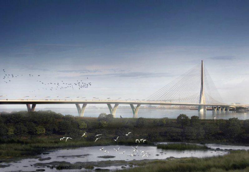 新北市淡江大橋完工後,將是世界最大跨距單塔不對稱斜張橋。模擬圖/公路總局提供