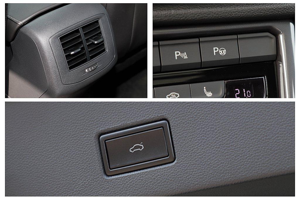 後座冷氣出風口與後行李廂電動啟閉尾門機構,不僅都是福斯T-Roc全車型標準配備,...