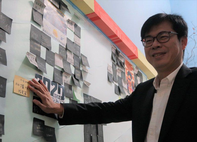 高雄市長陳其邁14日參觀特展「香港主題展–無聲的城牆:焦點以外」,並於連儂牆上張貼寫有「KH 撐 HK」的紙條,宣示將持續力挺港人。 中央社