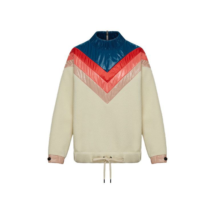 MONCLER女款粉藍色拼接上衣,30,300元。圖/MONCLER提供