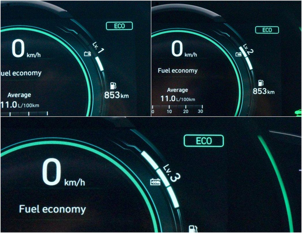 Eco模式下,電能回收系統的力道可透過換檔撥片進行三段調整。 記者趙駿宏/攝影