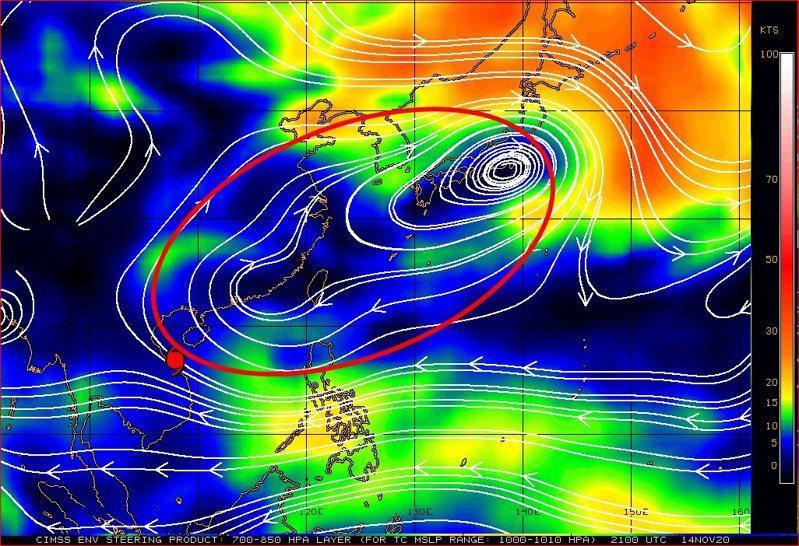 高氣壓北側可能受西風帶擾動的影響,變化比較明顯。在台灣上空這一段相對持續不變,所以台灣的天氣也將轉為穩定而且會持續一段時間。圖/取自鄭明典臉書