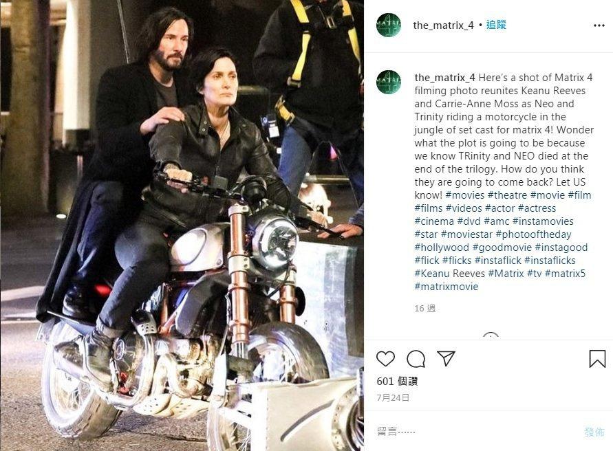 基努李維與凱莉安摩絲再度合作「駭客任務4」。圖/摘自Instagram