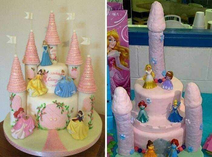 網友為女兒預定公主蛋糕,送來成品卻相當悲劇。圖/取自臉書