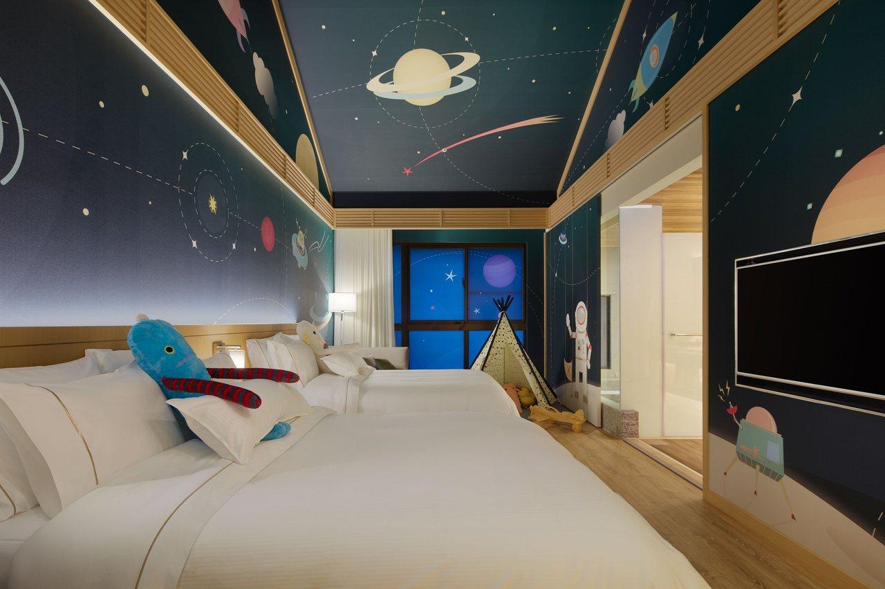 宜蘭力麗威斯汀渡假酒店擁有不同主題的挑高親子房。 圖/宜蘭力麗威斯汀酒店提供