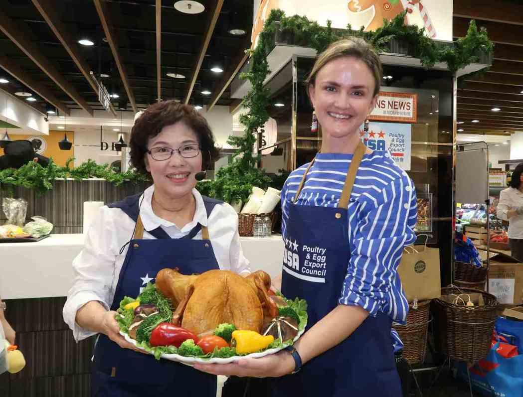 美食專家林美慧老師(左)與美國在台協會農業貿易辦事處主任Emily Scott(...