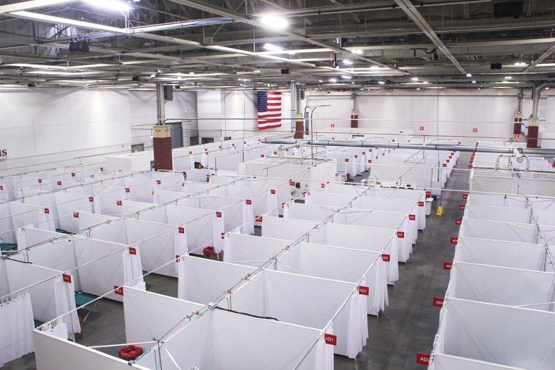 美國新冠肺炎感染案例激增,總數已在15日突破1,100萬例。圖為威斯康辛州密爾瓦基市近郊設立的野戰醫院。路透