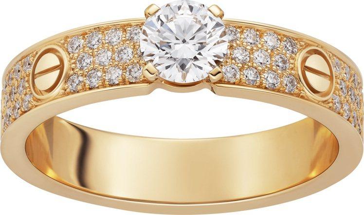 卡地亞玫瑰K金LOVE鋪鑲單鑽戒指,備有0.30至0.34克拉明亮式切割主鑽可選...