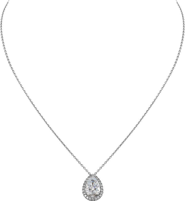 Cartier Destinée梨形切割鑽石項鍊,鉑金鑲嵌一顆2.02克拉的梨...