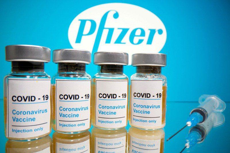 今年夏天,美國製藥大廠輝瑞公司與美國政府達成價值台幣560億元的「預購協議」,政府保證為輝瑞最終交貨的1億劑新冠疫苗買單。圖為輝瑞商標與新冠疫苗示意圖。路透